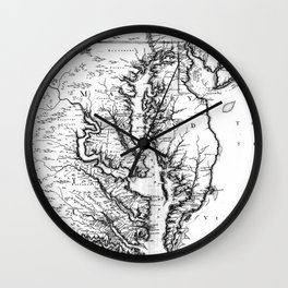 Vintage Map of The Chesapeake Bay (1719) BW Wall Clock