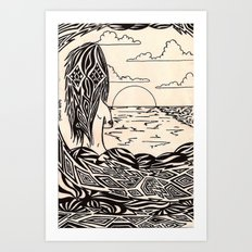 sunset girl 1 Art Print