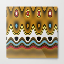 Fun Pattern Waves, Squiggles, and Oval Shapes Metal Print