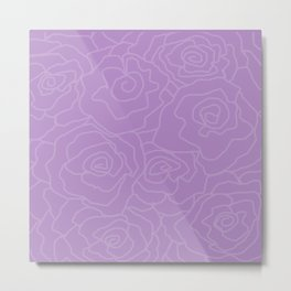 Lavender Dreams Roses - Medium with Light Outline Metal Print