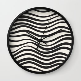 Wavy lines black and white Wall Clock