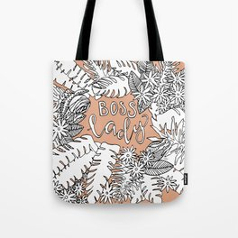 Boss Lady  - Peach Botanical Tote Bag