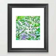 Foliage Abstract In Green and Mauve Framed Art Print