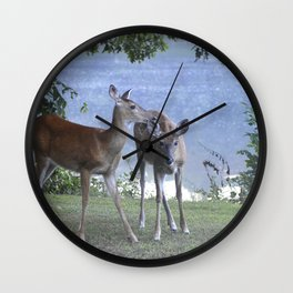 Early Evening Visitors Young Deer -Debra Cortese photo art Wall Clock