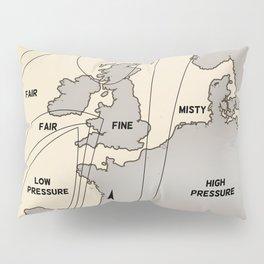 British Isles vintage weather map poster Pillow Sham