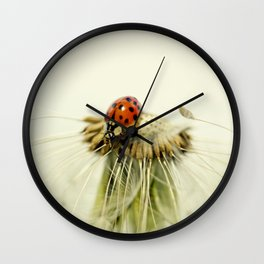 Dandelion Ladybugs Wall Clock