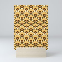 Deco Chinese Scallops, Mustard Gold and Brown Mini Art Print