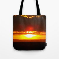sunset Tote Bags featuring Sunset by Aaron Carberry