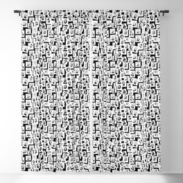 Pattern from stamps with 30 great composers (black&white version) Blackout Curtain