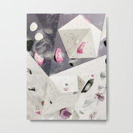 Geometric abstract free climbing gym wall boulders pink white Metal Print