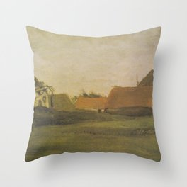 Vincent van Gogh - Farmhouses in Loosduinen near The Hague at Twilight (1883) Throw Pillow