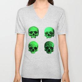 Skull quartet green Unisex V-Neck