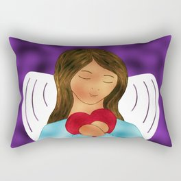You Are Loved Expressed By Angel Wth Heart By Annie Zeno Rectangular Pillow