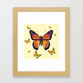 SPRING FLYING ORANGE MONARCH BUTTERFLIES ON CREAM Framed Art Print