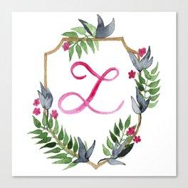 Jungle Gold Monogram Crest L Canvas Print