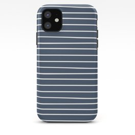 Minimalist Abstract Stripes Pattern, Navy and White iPhone Case