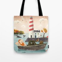 lighthouse Tote Bags featuring Lighthouse by Seaside Spirit