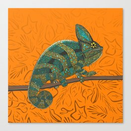 veiled chameleon turmeric Canvas Print