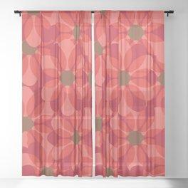 Vintage 1970's Pink Spring Flowers Pattern Sheer Curtain
