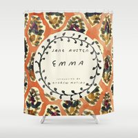 jane austen Shower Curtains featuring Remember Jane Austen (3) - Emma by MW. [by Mathius Wilder]