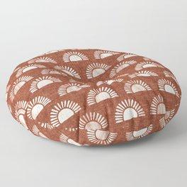 block print suns on rust Floor Pillow