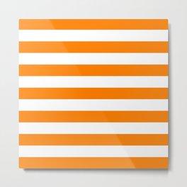 Horizontal Stripes (Orange/White) Metal Print