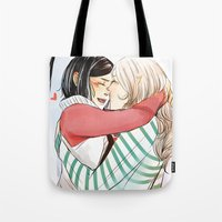 helen Tote Bags featuring Aline and Helen by The Radioactive Peach