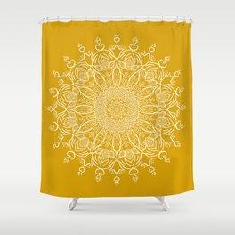 Tulip Mustard Yellow Boho Mandala Shower Curtain