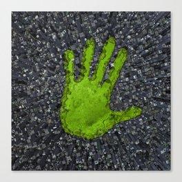 Carbon handprint / 3D render of modern city with handprint shaped park Canvas Print