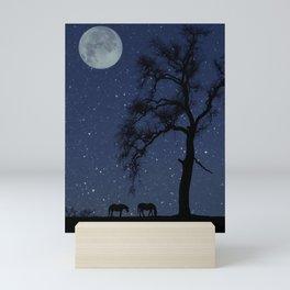Starry Night, Horse and Moon Mini Art Print
