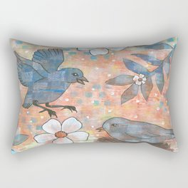 Whimiscal Birds in Nest Rectangular Pillow