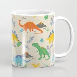 Jurassic Dinosaurs in Primary Colors Coffee Mug