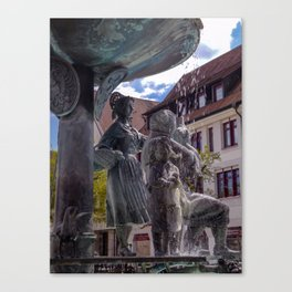 DE - Baden-Wurttemberg : Fountain on the Marketplace of Ehingen Canvas Print