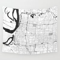 memphis Wall Tapestries featuring Memphis Map Gray by City Art Posters