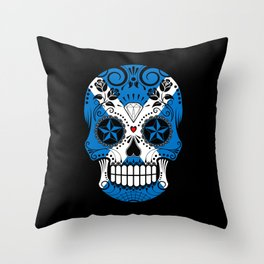 Sugar Skull with Roses and Flag of Scotland Throw Pillow