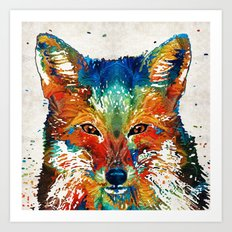 Colorful Fox Art - Foxi - By Sharon Cummings Art Print
