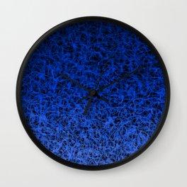 Blue Ombre Wispy Webbing on Black Wall Clock