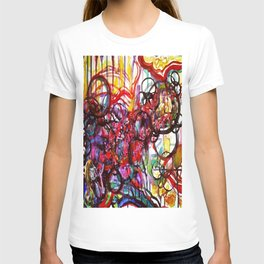 Whimsical Flower Girl's Force Field Acrylic and Watercolor Painting T-shirt