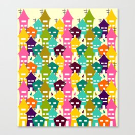 Colorful houses and cats Canvas Print