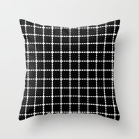Dotted Grid Black Large Throw Pillow