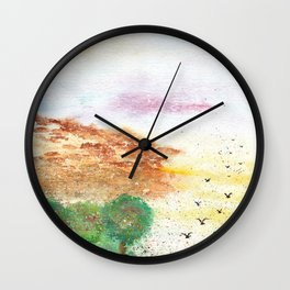 Let's Fly Away Watercolor Painting Wall Clock