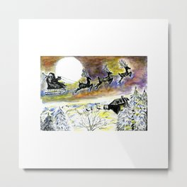 Santa Night Flight Metal Print