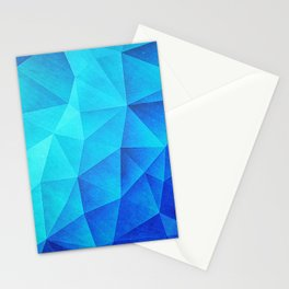 Abstract Polygon Multi Color Cubizm Painting in ice blue Stationery Cards