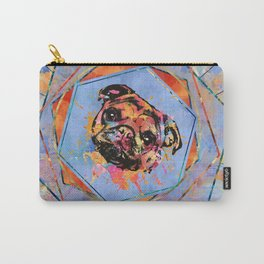 Pug dog portrait abstract mixed media Carry-All Pouch
