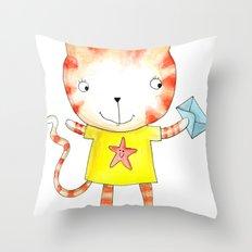 Ginger kitten watercolour Throw Pillow