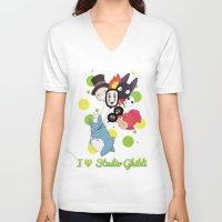 studio ghibli V-neck T-shirts featuring I ♥ Studio Ghibli by Lacis