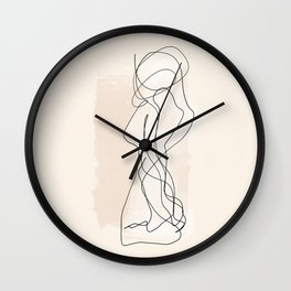 As One   Minimal Abstract Line Drawing Wall Clock