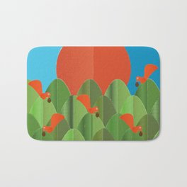 red squirrels at the sunset Bath Mat