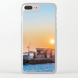 The blue ice on the river Clear iPhone Case