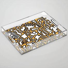 black doodle on orange Acrylic Tray